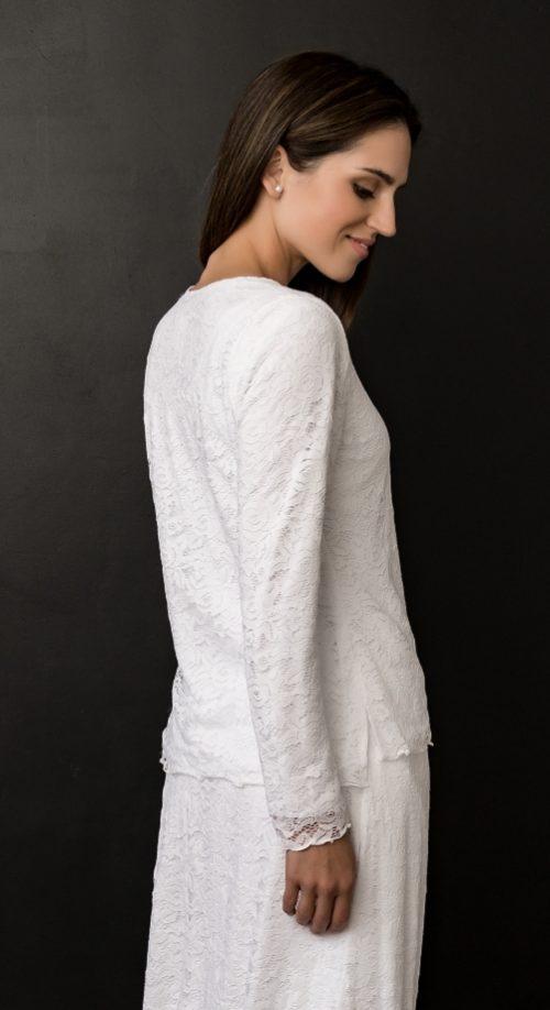 White Lace LDS Temple Dress