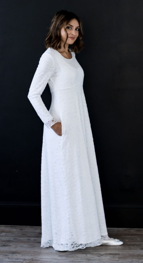 Venice Bridal - minimalist & modest wedding dress with long sleeves.