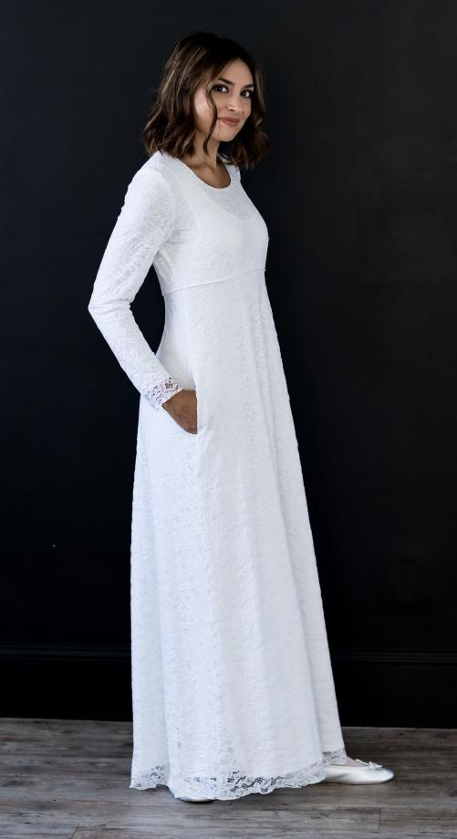 Venice Bridal - minimalist & modest wedding dress with long sleeves.