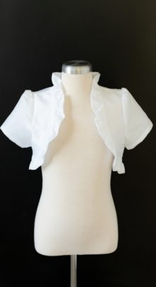 Ruffled White Jacket LDS Baptism
