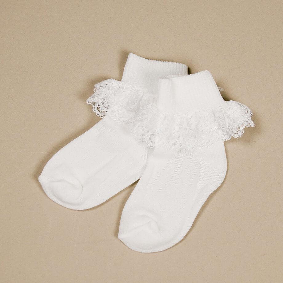 Lace Ruffle Socks - $5.95 | White Elegance Ruffled Socks