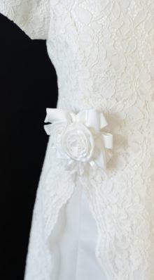 Ribbon Rosette White LDS Baptism Dress