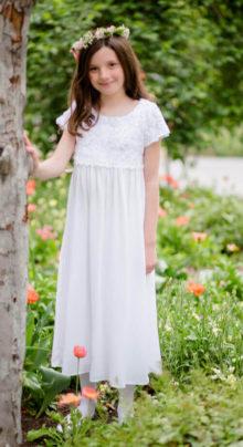 lady bug modest white lace baptism dress for girls