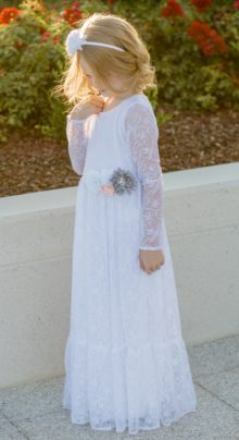 LDS Baptism Dress White Lace