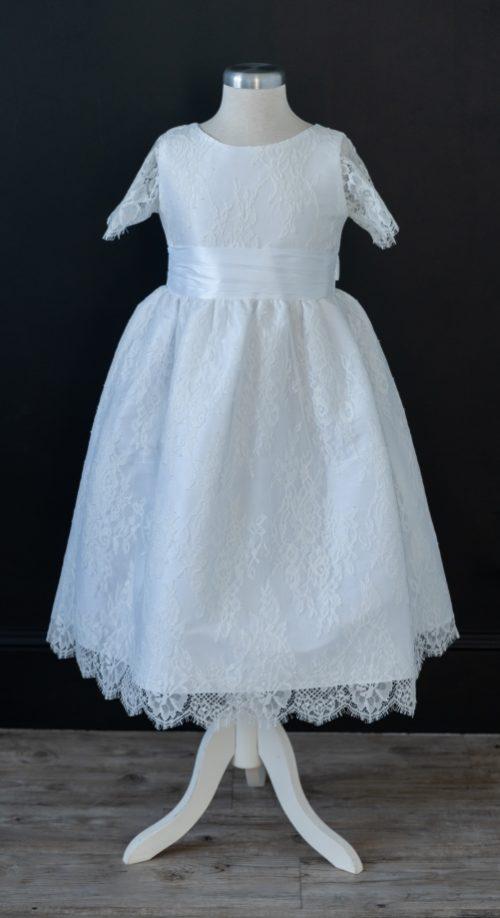 White Lace LDS Baptism Dress