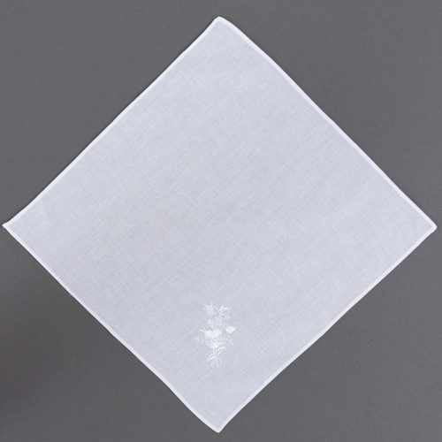 White Temple Hankie Embroidered Flower