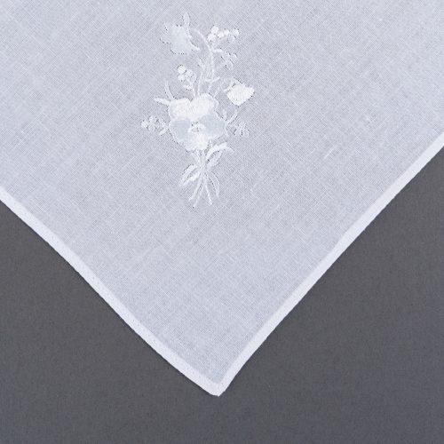 White LDS Hankie Flower Details