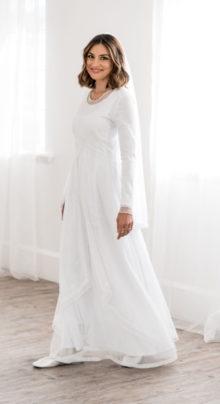 Marseille - White Modest Wedding Dress