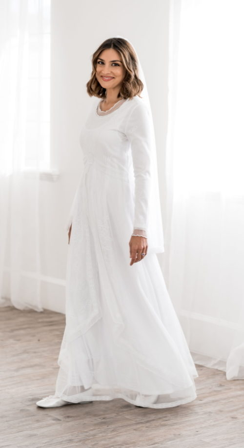 Marseille - White Modest Wedding Dress