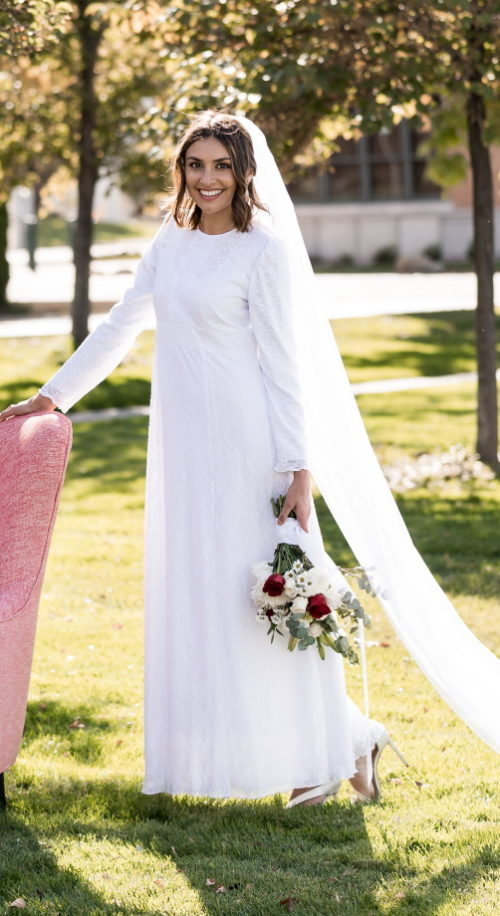 Holland Bridal - a simple & elegant modest wedding dress with long sleeves