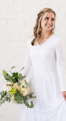 Savannah - Lace and Embroidered Modest LDS Wedding Dress