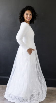 Savannah - Lace and Embroidered Modest LDS Wedding Dress - Side View
