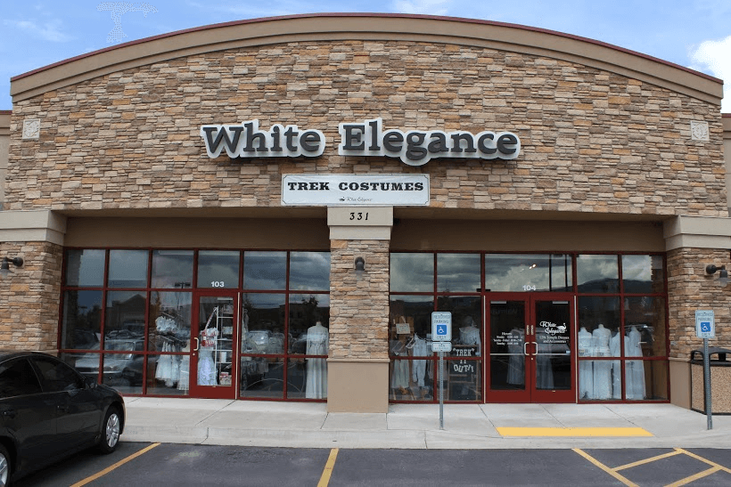white elegance temple and wedding dress store