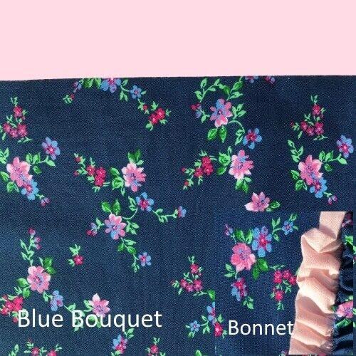 Blue Bouquet set w bonnet